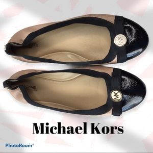 Michael Kors Natural Dixie Leather Ballet Flat